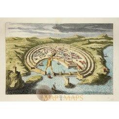 Greece The Colossus of Rhodes Old engraved print Calmet 1730