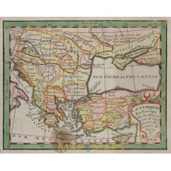 Turkey in Europe antique map Claude Buffier 1754