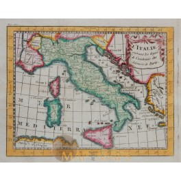 Kingdoms of Italy Antique Map by Buffier 1769
