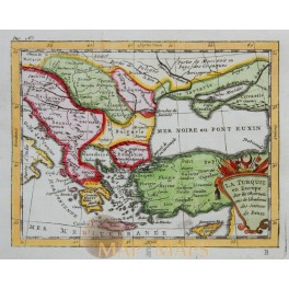 Original Antique old Map Turkey in Europe antique map by Buffier 1769