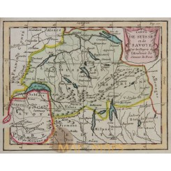 Map of Switzerland & Savoy antique old map Buffier 1744