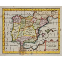 PORTUGAL SPAIN ANTIQUE OLD MAP BY BUFFIER 1769