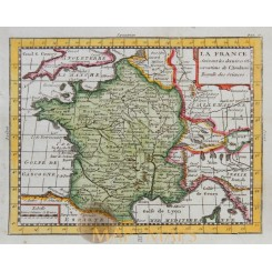 France antique map by Claude Buffier 1769