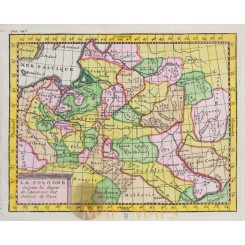 Poland antique map La Pologne Claude Buffier 1769