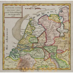 NETHERLAND BELGIUM ANTIQUE ENGRAVED MAP VAUGONDY 1750