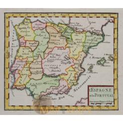 Spain and Portugal old map Robert de Vaugondy 1750