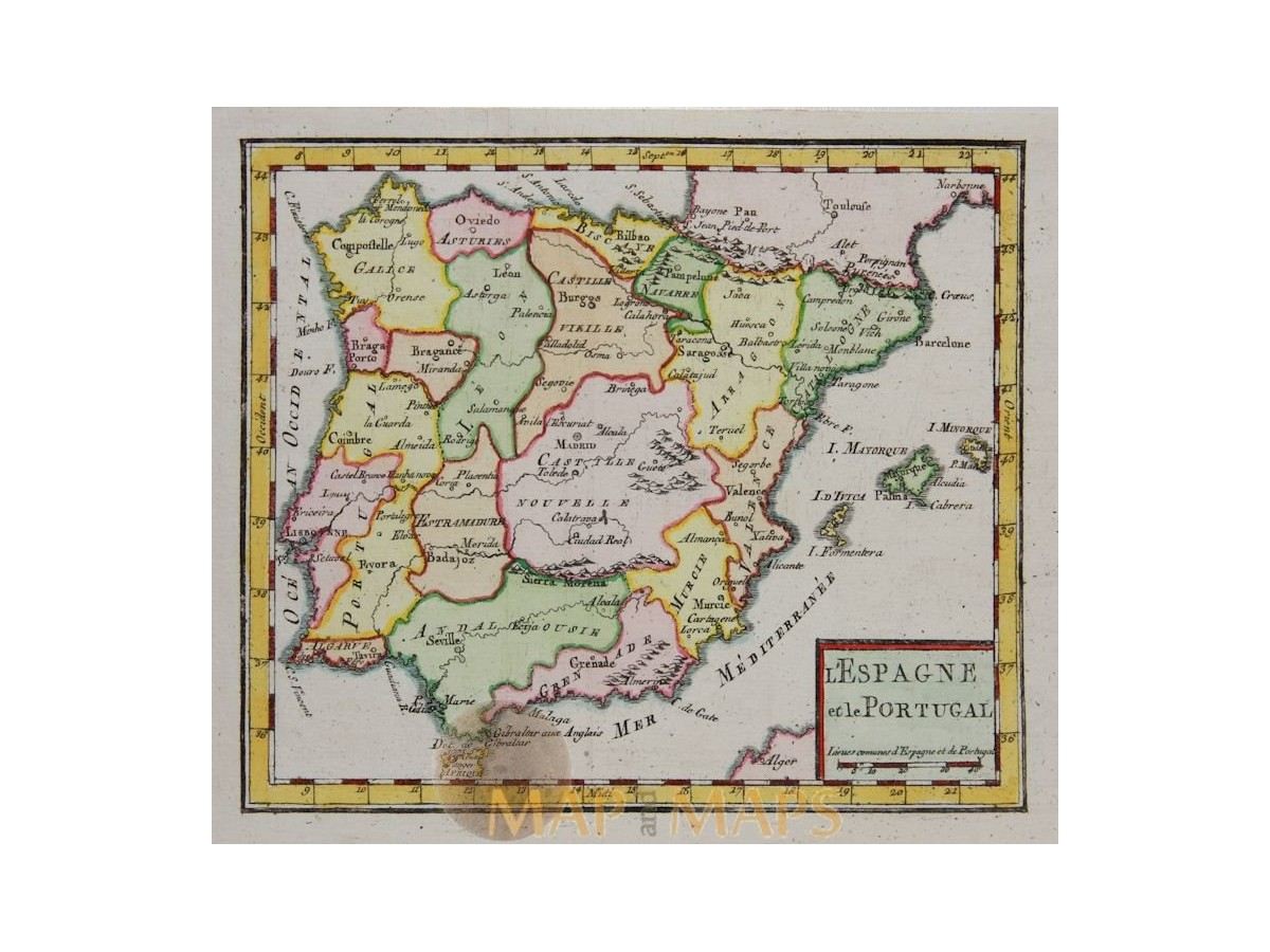 Map Of Spain Old.Spain And Portugal Old Map Robert De Vaugondy 1750