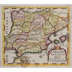 Spain Portugal Antique map by de Fer 1703
