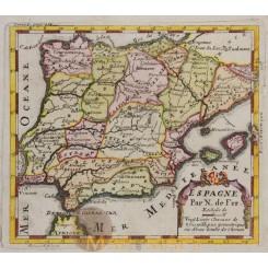 Spain Portugal Old Map N. de Fer. Engraved Roussel 1703