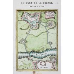 OLD PLAN VILLA NOVA PORTUGAL COPPER ENGRAVING FORTRESS VILLANOVA BY MALLET 1684