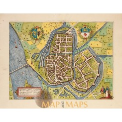 Zutphen Old antique map by Jacob van Deventer 1613