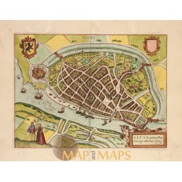 Sluis Zeeuws-Vlaanderen Holland Old map v Deventer 1613