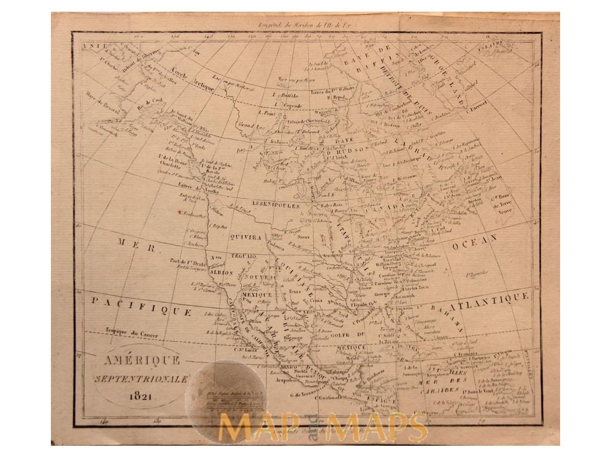 North & Central America Alaska Canada antique old map