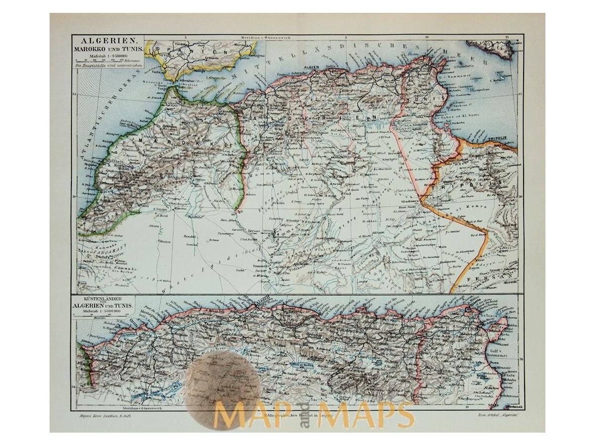 Antique Map Africa, Algeria Morocco Tunisia. Mapandmaps.