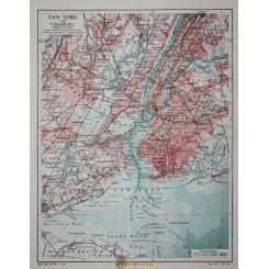 SOUTH NEW YORK-NEW YORK METROPOLITAN 2 ANTIQUE MAPS NEW YORK MEYERS 1910