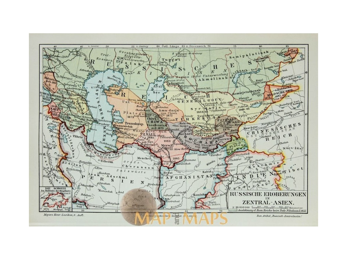 Antique Old Map Russian conquests in Central Asia 1905 - MapandMaps.com
