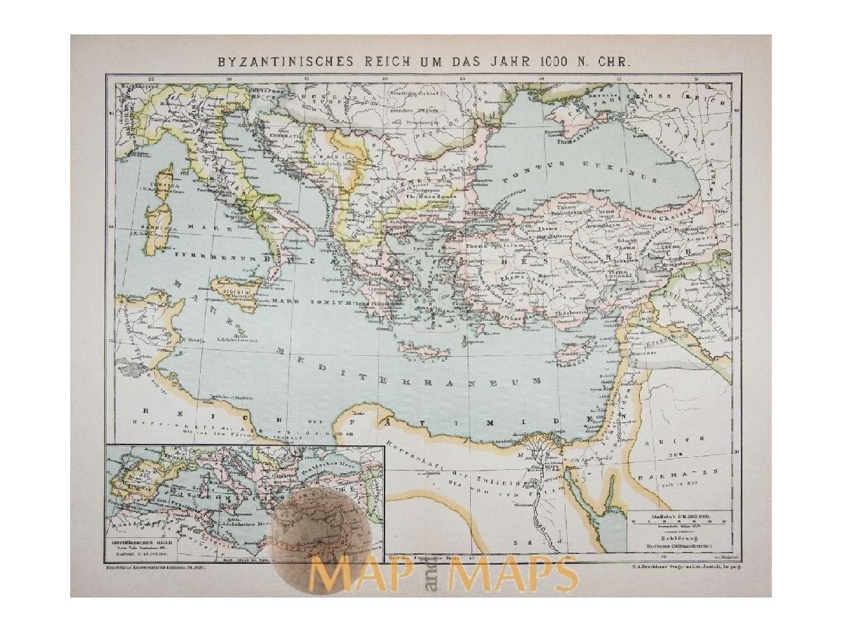 Old Map Byzantine Empire Africa Europe Mapandmaps