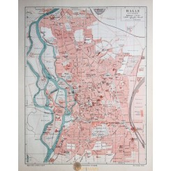Antique Old Map Halle Germany, Saale River 1905