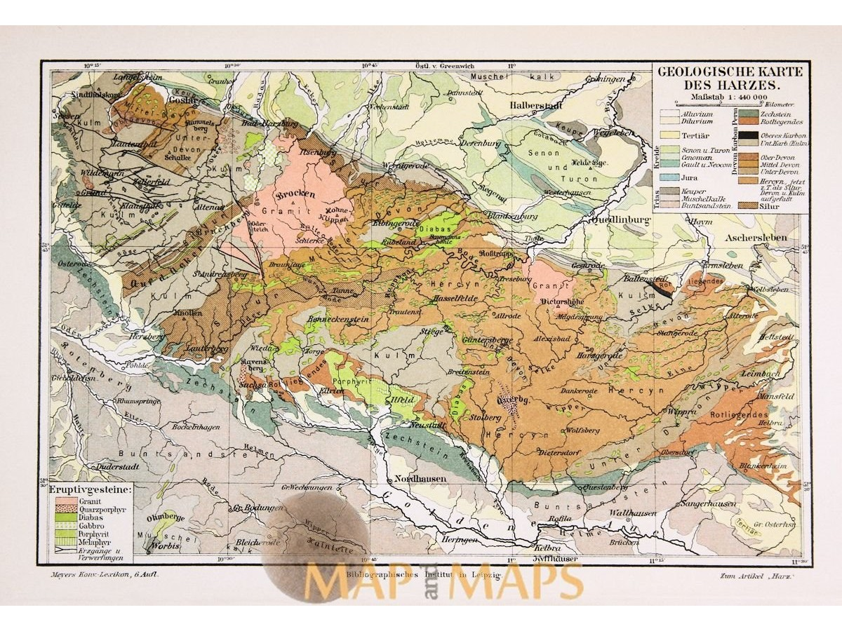 Map Of Old Germany.Antique Old Geological Map Of Germany Karte Des Harzes Mapandmaps