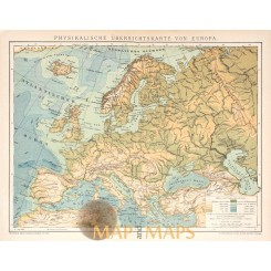 Antique map Physical map of Europe. Meyers 1895.