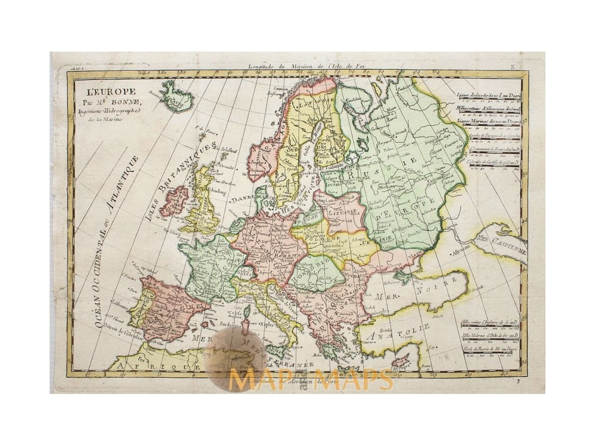 Old copper plate map, Europe Latvia Poland by Rigobert Bonne 1787 ...