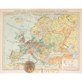 Antique map of population density in Europe. Meyers 1895.