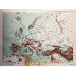 PHYSICAL MAP OF EUROPE, TURKEY ANTIQUE MAP, MEYERS 1897
