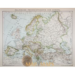 POLITICAL MAP OF EUROPE ANTIQUE MAP EUROPE MEYERS 1910