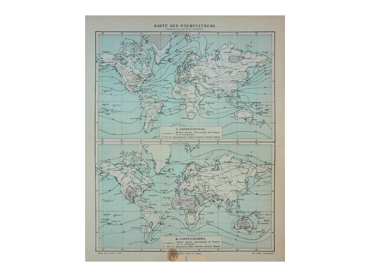 Antique Old World Map of the Warm Extreme. 1905 - MapandMaps.com