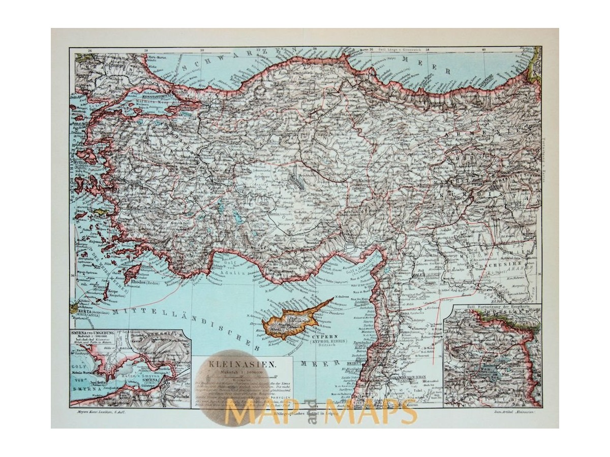 bfc753968f Antique Old map Asia Minor. Turkey Cyprus. 1905. Loading zoom