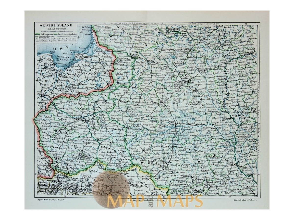 Antique Old Map West Russia Poland 1905 Mapandmaps