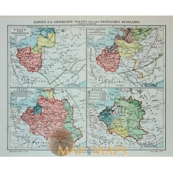 Antique Old map Poland Historical. 1905