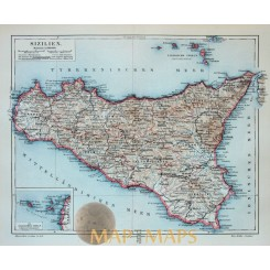 Sizilien.Old Antique Map of Sicily Italy Meyer 1905