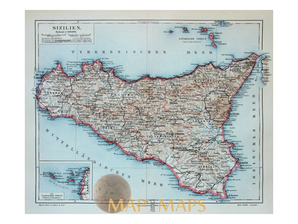 Old Antique Map of Sicily Italy. 1905