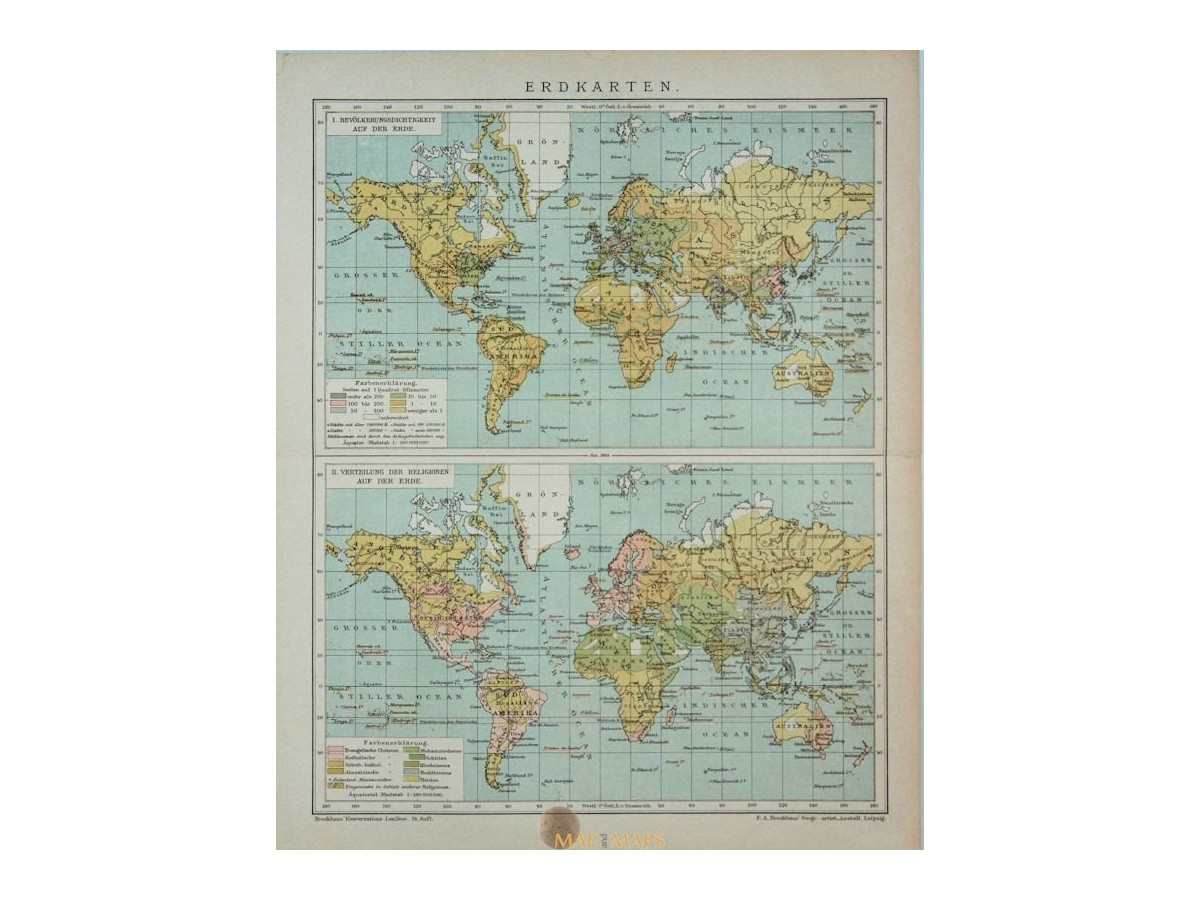 Erdkarte 2 Vintage World Maps Population Religion Meyer Mapandmaps