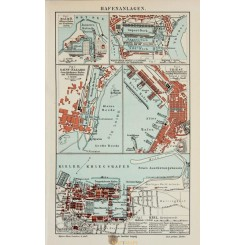 Port facilities in Europe, Antique Old Map 1905