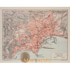 Neapel. Old map Bay of Naples Italy, Meyer 1905