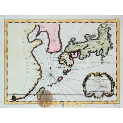 Korea and Japan islands map by Bellin 1760