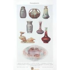 Art glazes, Antique Old Print art nouveau 1905