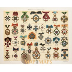 Germany Prussia Orders Antique Print Military Medals 1905