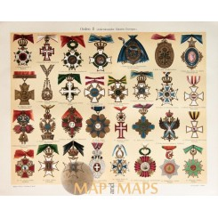 Europe Orders Decorations, Antique Print Military Medals 1905
