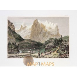 Wetterhorn Bernese Alps Switzerland Old print Meyers 1840