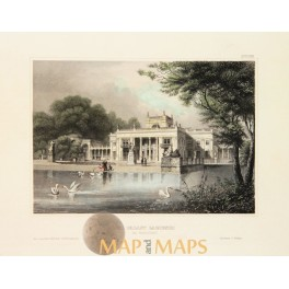 LAZIENKI PALACE IN WARSAW POLAND ANTIQUE PRINT MEYERS 1856