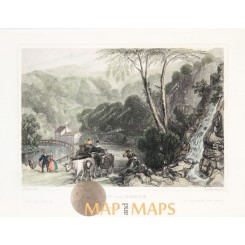 View near Belgium 1830 old print
