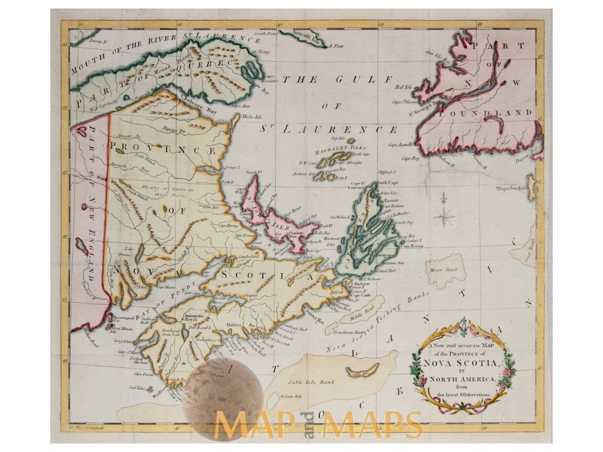 Buy Map Of Canada.Nova Scotia Canada Antique Old Map Hinton 1781