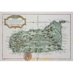 Saint Lucia Sainte Lucie West Indies Caribbean map Bellin 1758