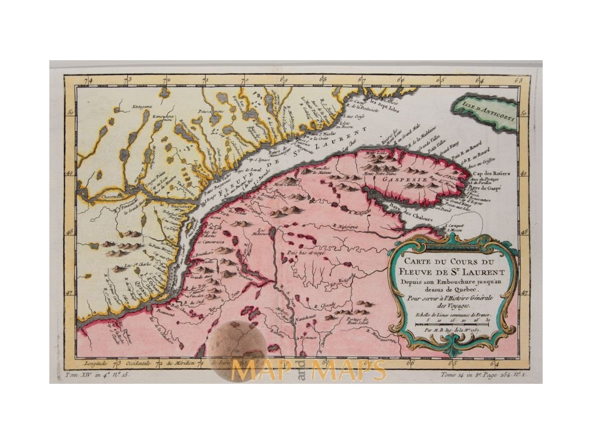St Lawrence River World Map.Canada Maps St Lawrence River Bellin 1757 Mapandmaps
