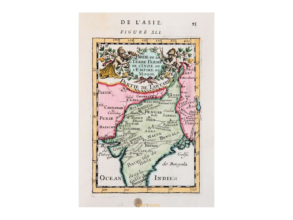Mughal Empire Antique Map India Mallet 1683 Mapandmaps