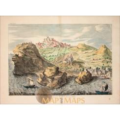 Patmos Island Greece monastery of St Jean Old print Calmet 1730