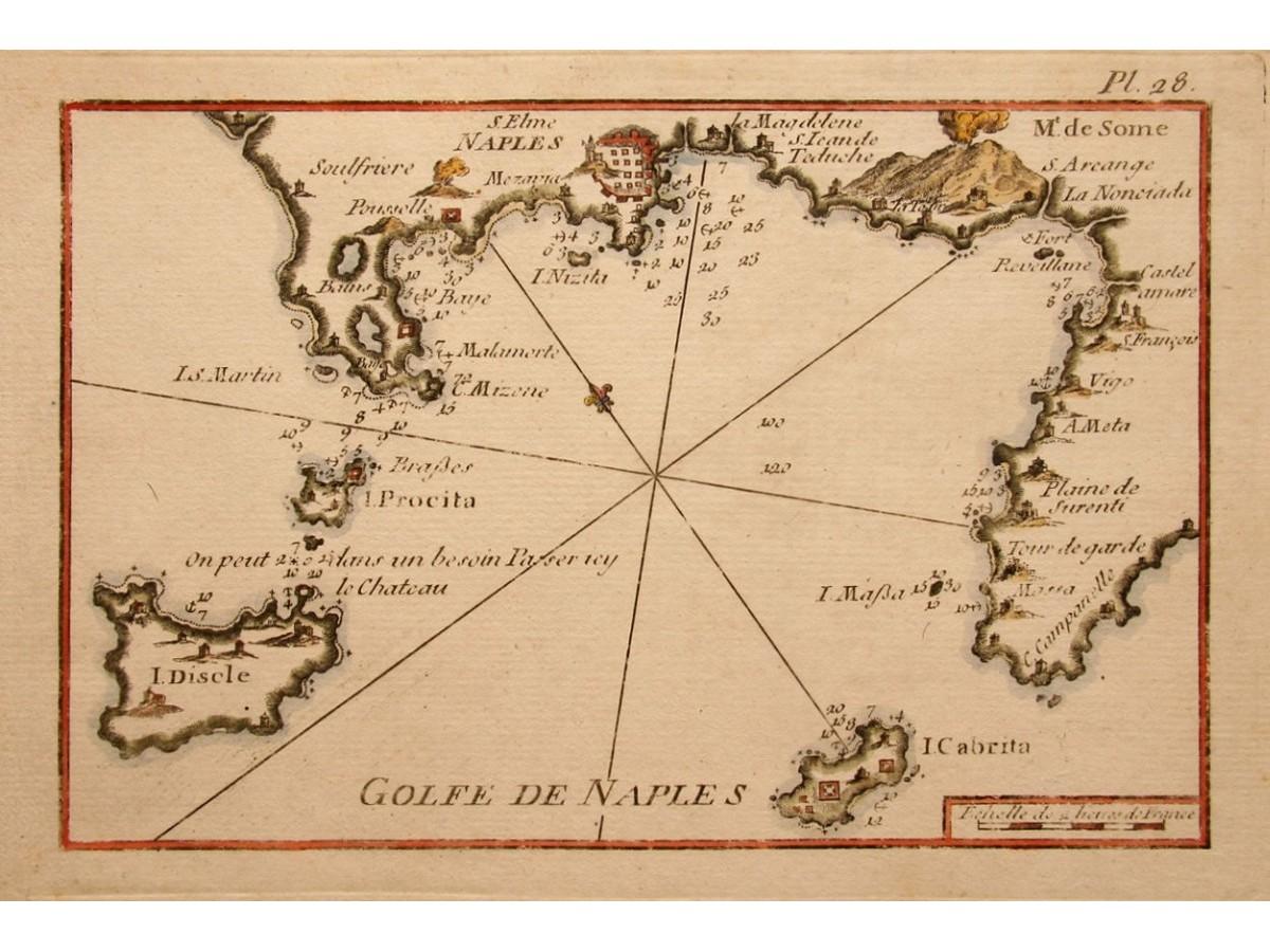 Mount Vesuvius Bay of Naples Italy old map Roux 1764 - MapandMaps.com